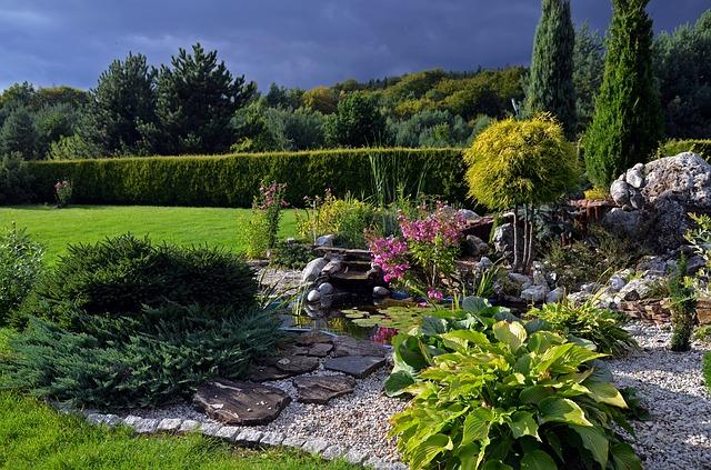 ogród-kratka-trawnikowa-przy-oczku-wodnym